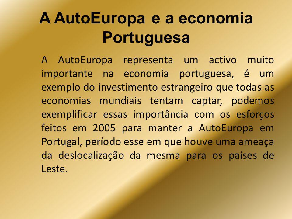 A AutoEuropa e a economia Portuguesa A AutoEuropa representa um activo muito importante na economia portuguesa, é um exemplo do investimento estrangei