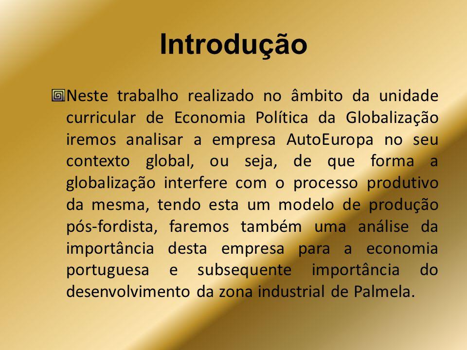 Introdução Neste trabalho realizado no âmbito da unidade curricular de Economia Política da Globalização iremos analisar a empresa AutoEuropa no seu c