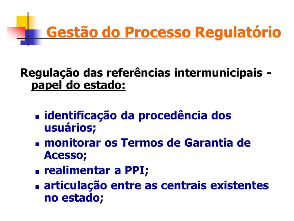 Gestão do Processo Regulatório Regulação das referências intermunicipais - papel do estado: identificação da procedência dos usuários; monitorar os Te