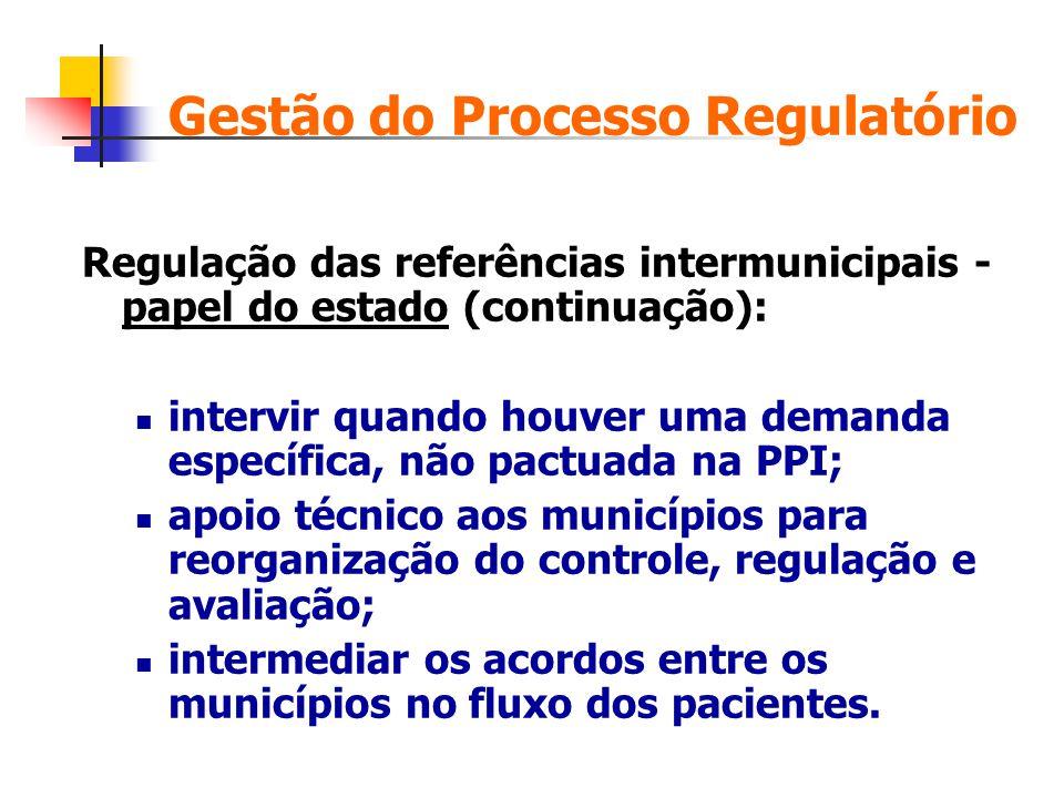 Regulação das referências intermunicipais - papel do estado (continuação): intervir quando houver uma demanda específica, não pactuada na PPI; apoio t