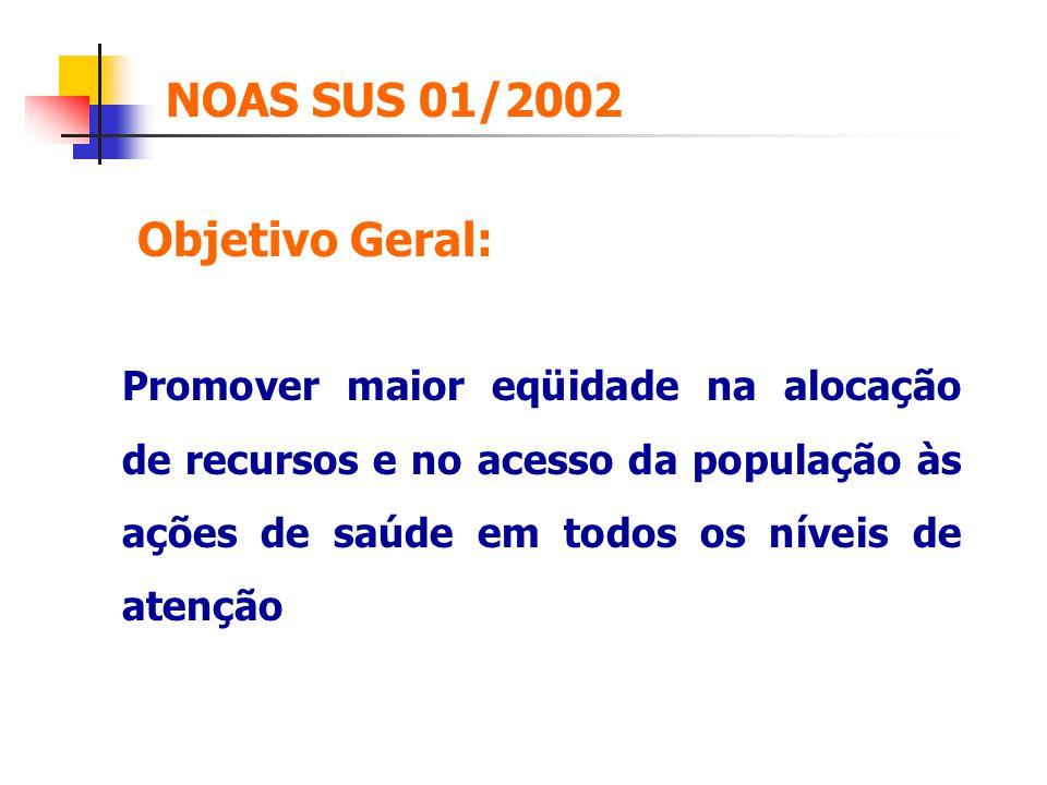 NOAS SUS 01/2002 Promover maior eqüidade na alocação de recursos e no acesso da população às ações de saúde em todos os níveis de atenção Objetivo Ger