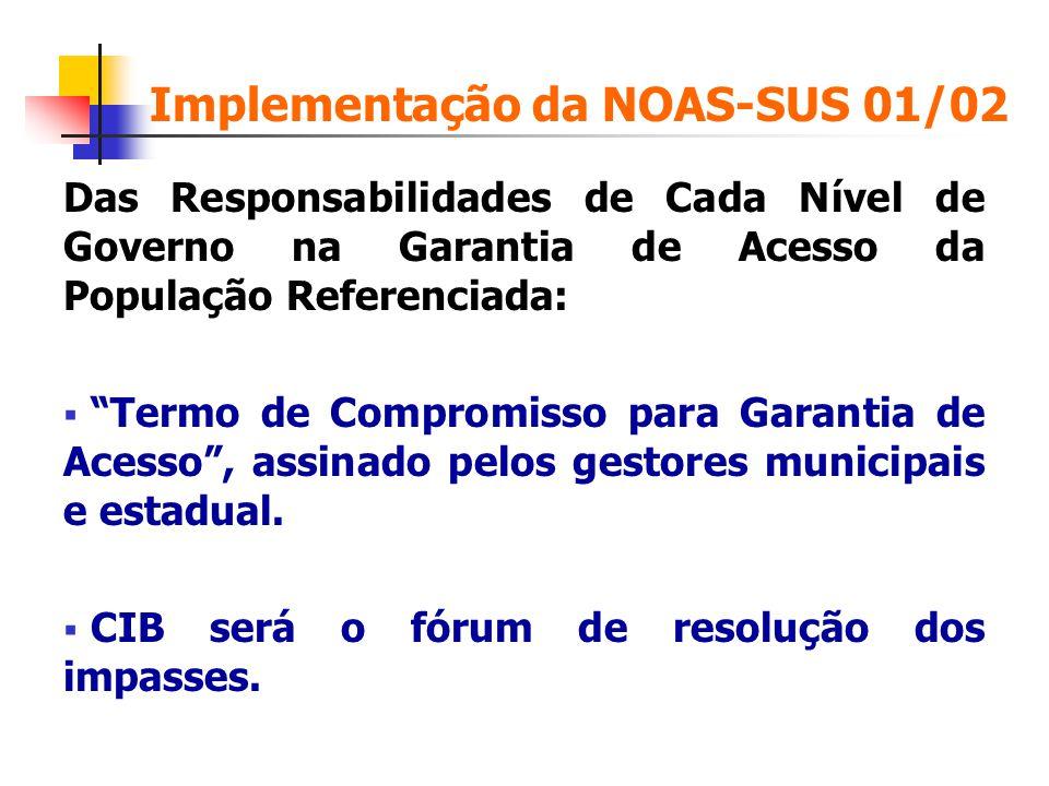 Implementação da NOAS-SUS 01/02 Das Responsabilidades de Cada Nível de Governo na Garantia de Acesso da População Referenciada: Termo de Compromisso p