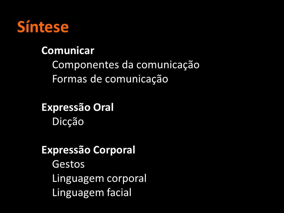 Síntese Comunicar Componentes da comunicação Formas de comunicação Expressão Oral Dicção Expressão Corporal Gestos Linguagem corporal Linguagem facial