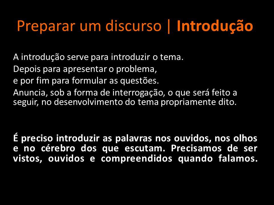 Preparar um discurso | Introdução A introdução serve para introduzir o tema. Depois para apresentar o problema, e por fim para formular as questões. A