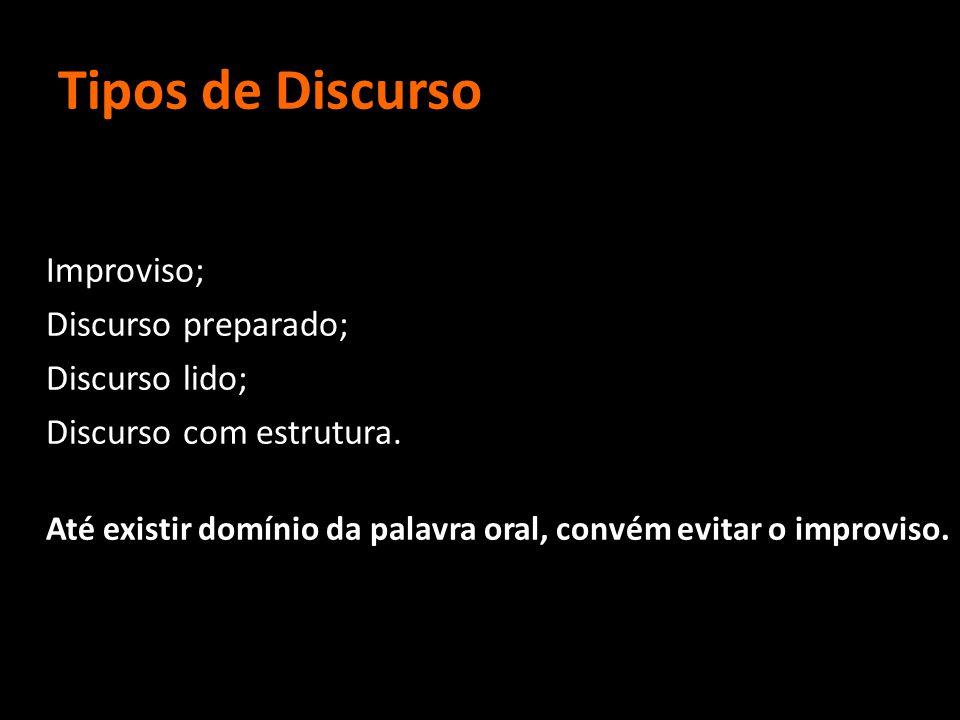 Tipos de Discurso Improviso; Discurso preparado; Discurso lido; Discurso com estrutura. Até existir domínio da palavra oral, convém evitar o improviso