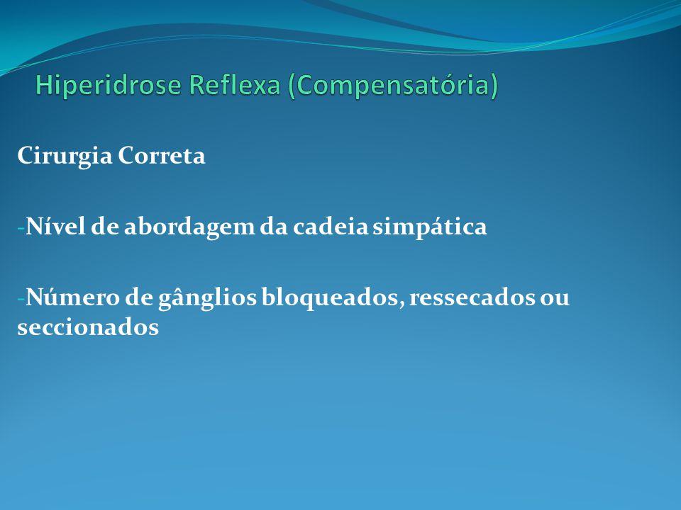 Cirurgia Correta - Nível de abordagem da cadeia simpática - Número de gânglios bloqueados, ressecados ou seccionados