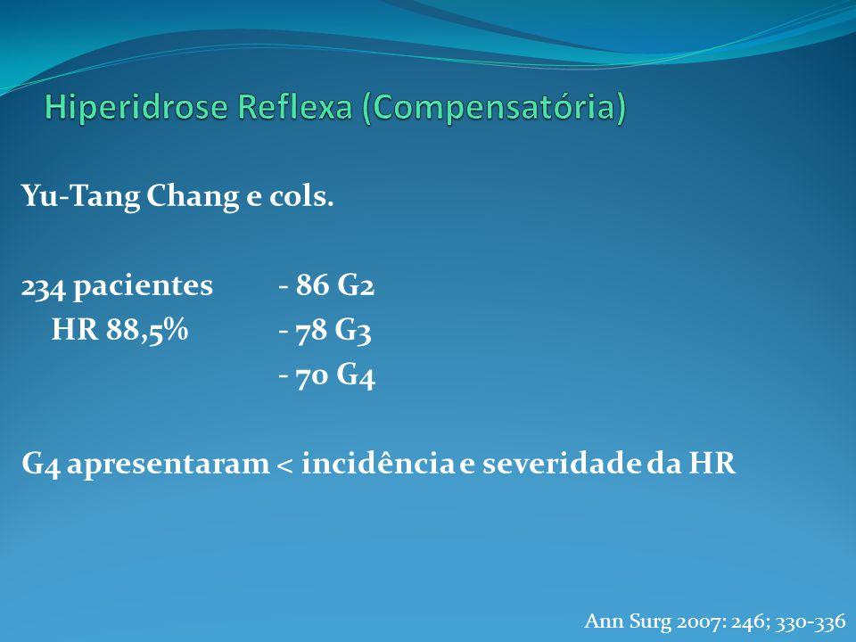 Yu-Tang Chang e cols. 234 pacientes- 86 G2 HR 88,5%- 78 G3 - 70 G4 G4 apresentaram < incidência e severidade da HR Ann Surg 2007: 246; 330-336
