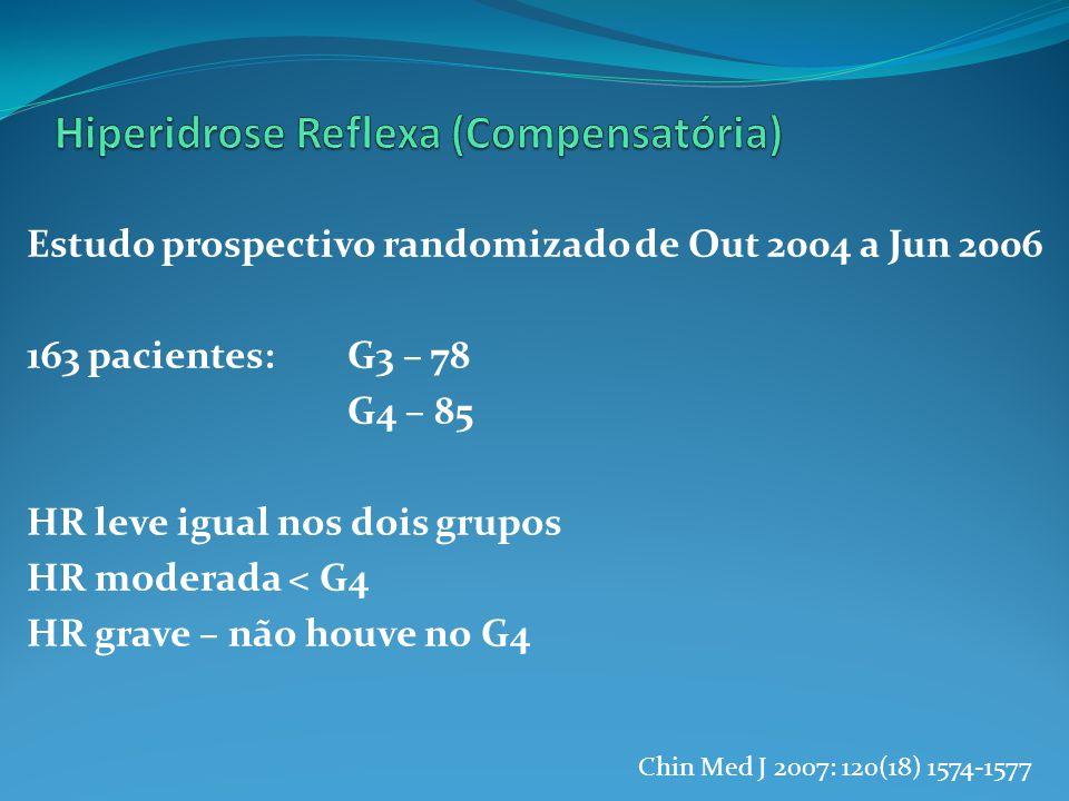 Estudo prospectivo randomizado de Out 2004 a Jun 2006 163 pacientes: G3 – 78 G4 – 85 HR leve igual nos dois grupos HR moderada < G4 HR grave – não houve no G4 Chin Med J 2007: 120(18) 1574-1577