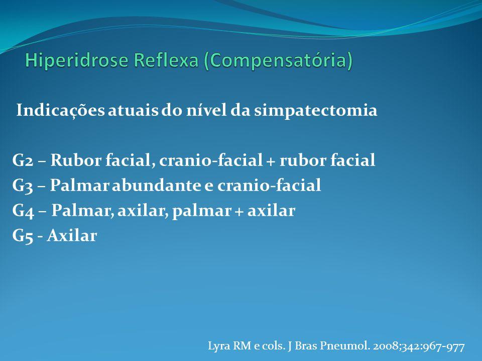 Indicações atuais do nível da simpatectomia G2 – Rubor facial, cranio-facial + rubor facial G3 – Palmar abundante e cranio-facial G4 – Palmar, axilar, palmar + axilar G5 - Axilar Lyra RM e cols.