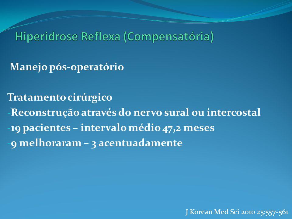Manejo pós-operatório Tratamento cirúrgico - Reconstrução através do nervo sural ou intercostal - 19 pacientes – intervalo médio 47,2 meses - 9 melhor
