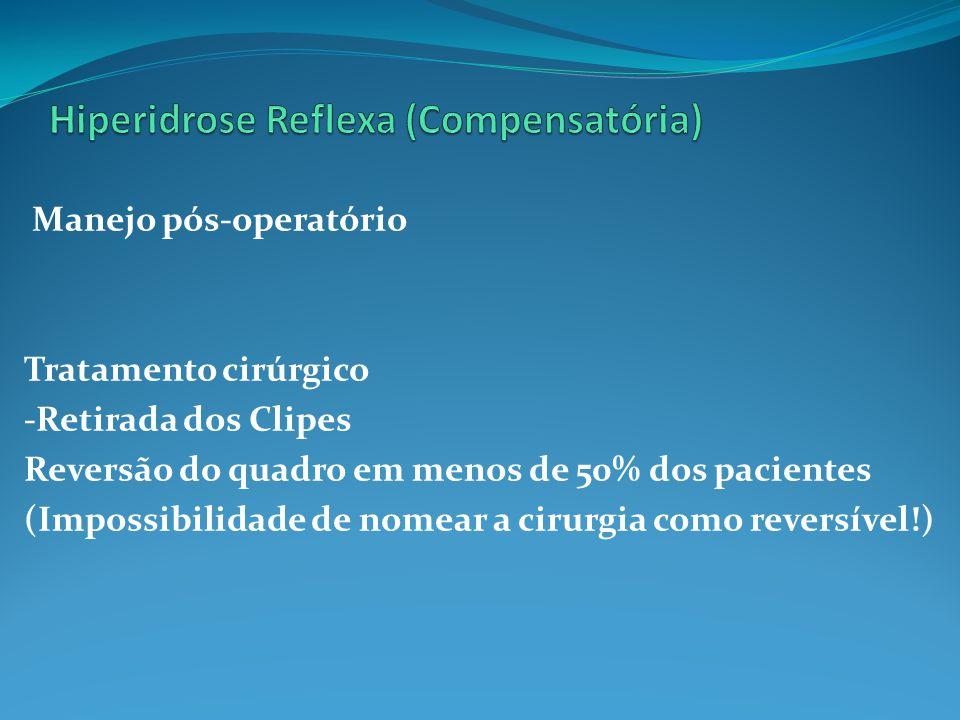 Manejo pós-operatório Tratamento cirúrgico -Retirada dos Clipes Reversão do quadro em menos de 50% dos pacientes (Impossibilidade de nomear a cirurgia