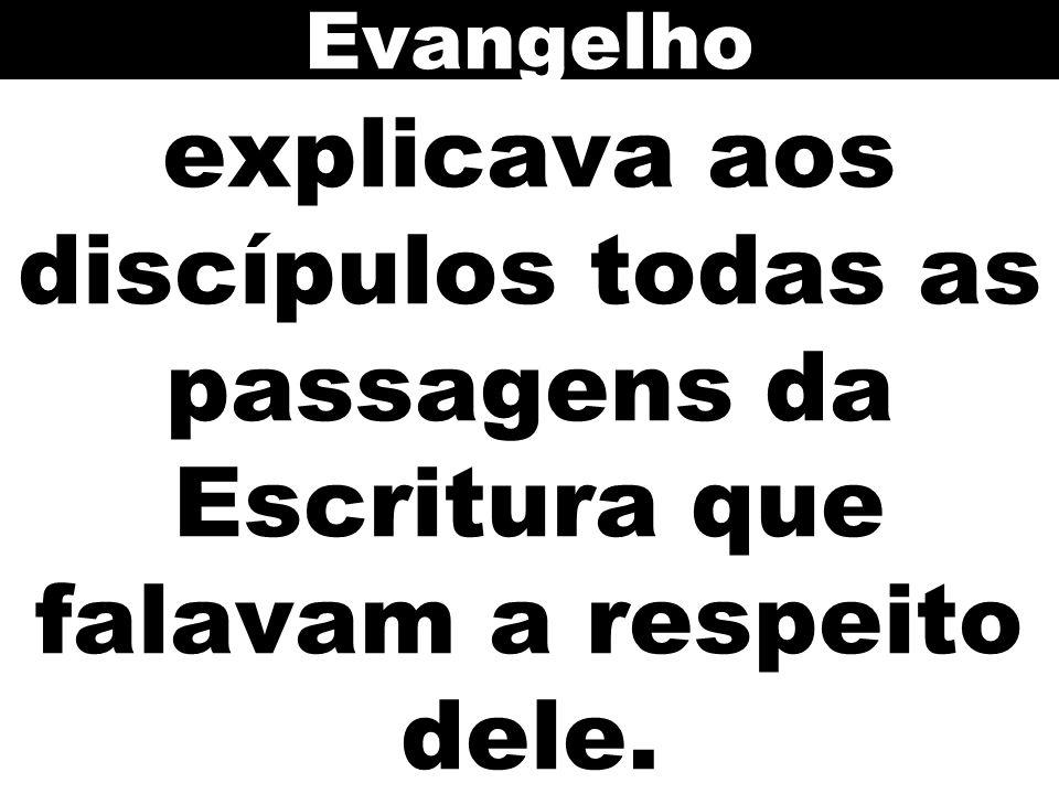 explicava aos discípulos todas as passagens da Escritura que falavam a respeito dele. Evangelho