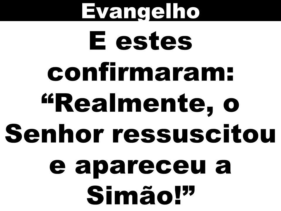 E estes confirmaram: Realmente, o Senhor ressuscitou e apareceu a Simão! Evangelho