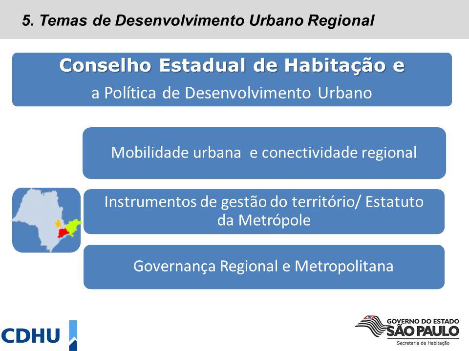 Conselho Estadual de Habitação e a Política de Desenvolvimento Urbano Mobilidade urbana e conectividade regional Governança Regional e Metropolitana Instrumentos de gestão do território/ Estatuto da Metrópole 5.