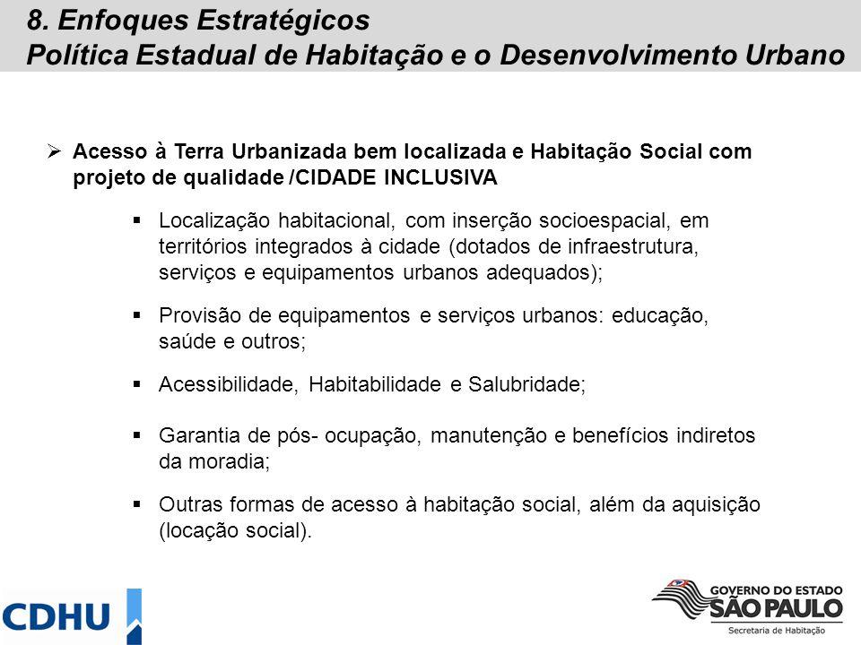 8. Enfoques Estratégicos Política Estadual de Habitação e o Desenvolvimento Urbano Acesso à Terra Urbanizada bem localizada e Habitação Social com pro