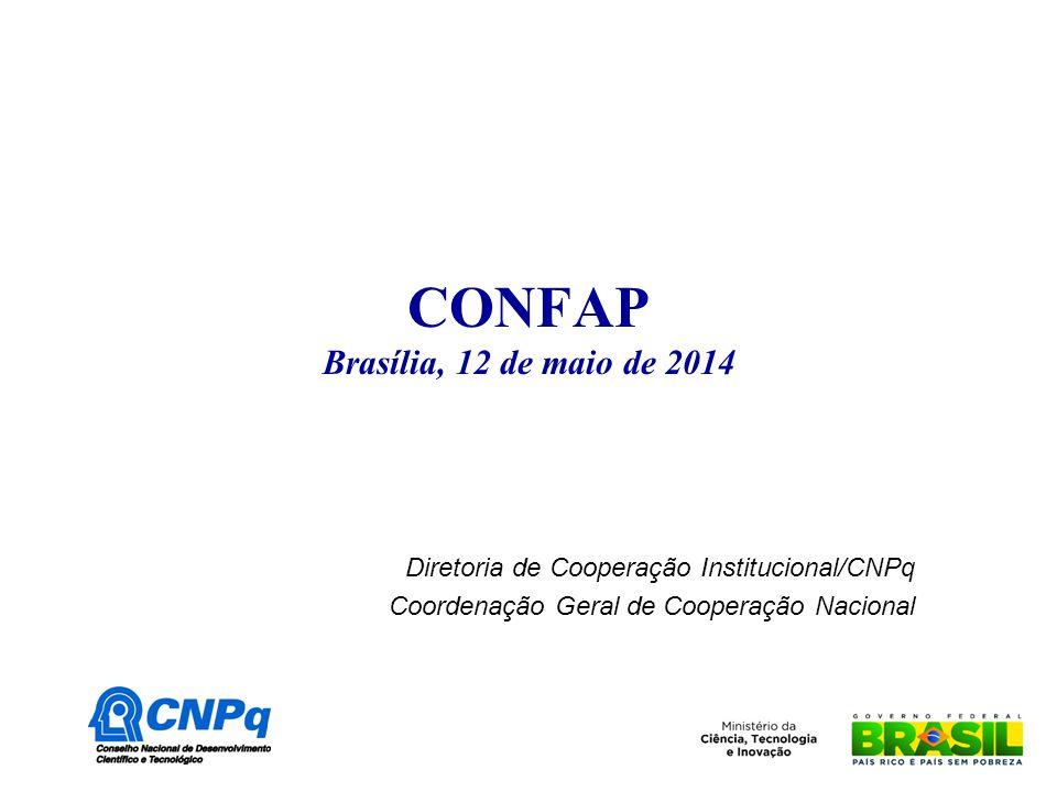 CONFAP Brasília, 12 de maio de 2014 Diretoria de Cooperação Institucional/CNPq Coordenação Geral de Cooperação Nacional
