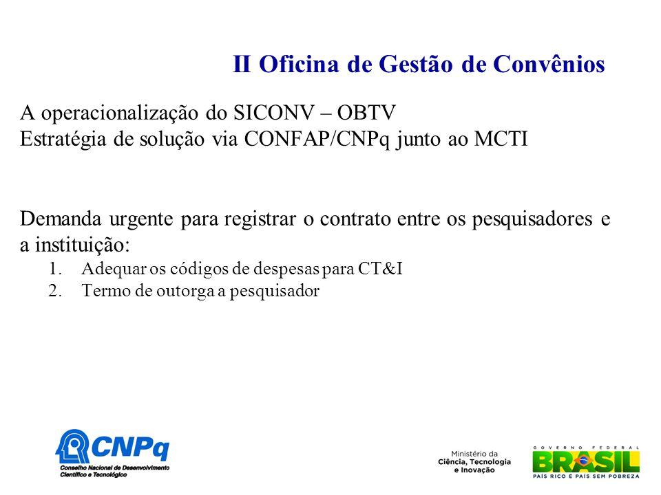 II Oficina de Gestão de Convênios A operacionalização do SICONV – OBTV Estratégia de solução via CONFAP/CNPq junto ao MCTI Demanda urgente para registrar o contrato entre os pesquisadores e a instituição: 1.Adequar os códigos de despesas para CT&I 2.Termo de outorga a pesquisador