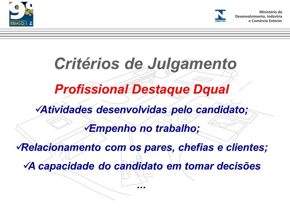 Critérios de Julgamento Profissional Destaque Dqual Atividades desenvolvidas pelo candidato; Empenho no trabalho; Relacionamento com os pares, chefias