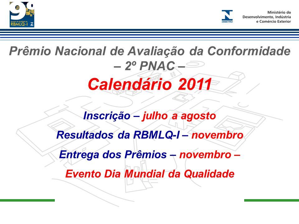 Prêmio Nacional de Avaliação da Conformidade – 2º PNAC – Calendário 2011 Inscrição – julho a agosto Resultados da RBMLQ-I – novembro Entrega dos Prêmi