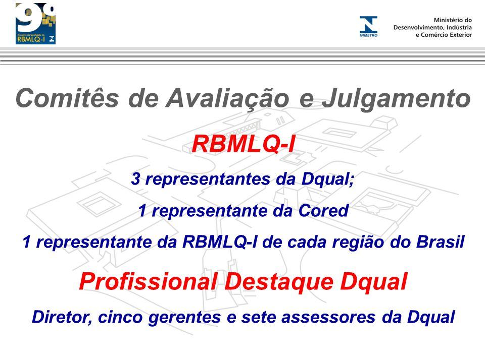 Comitês de Avaliação e Julgamento RBMLQ-I 3 representantes da Dqual; 1 representante da Cored 1 representante da RBMLQ-I de cada região do Brasil Prof