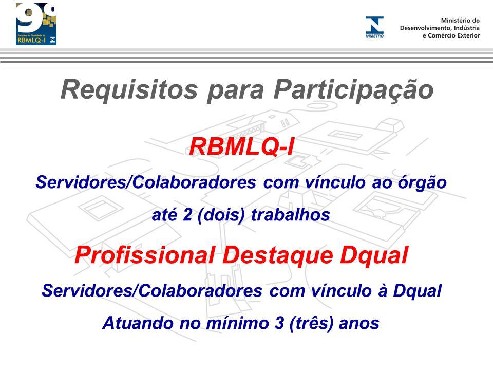 Requisitos para Participação RBMLQ-I Servidores/Colaboradores com vínculo ao órgão até 2 (dois) trabalhos Profissional Destaque Dqual Servidores/Colab