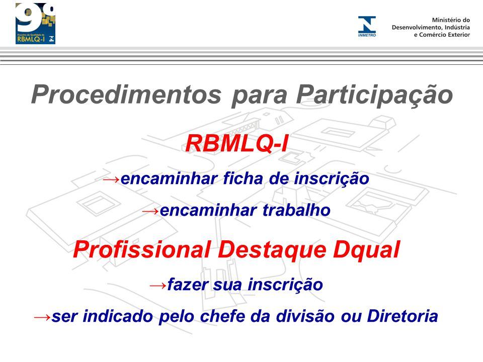 Procedimentos para Participação RBMLQ-I encaminhar ficha de inscrição encaminhar trabalho Profissional Destaque Dqual fazer sua inscrição ser indicado