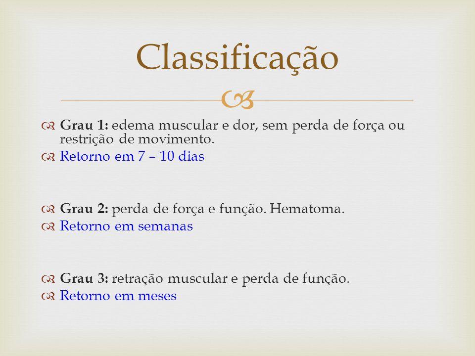 Grau 1: edema muscular e dor, sem perda de força ou restrição de movimento.