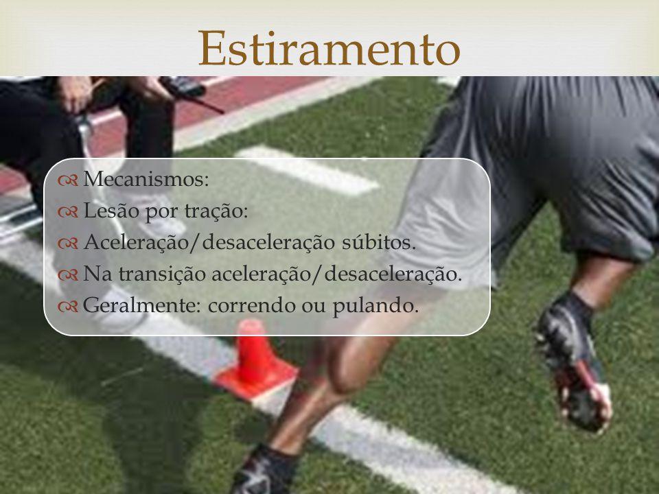 Mecanismos: Lesão por tração: Aceleração/desaceleração súbitos.