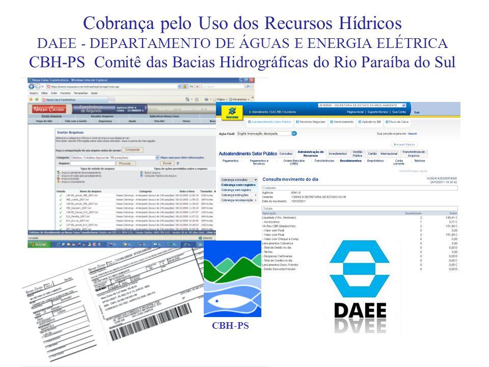 Cobrança pelo Uso dos Recursos Hídricos DAEE - DEPARTAMENTO DE ÁGUAS E ENERGIA ELÉTRICA CBH-PS Comitê das Bacias Hidrográficas do Rio Paraíba do Sul C
