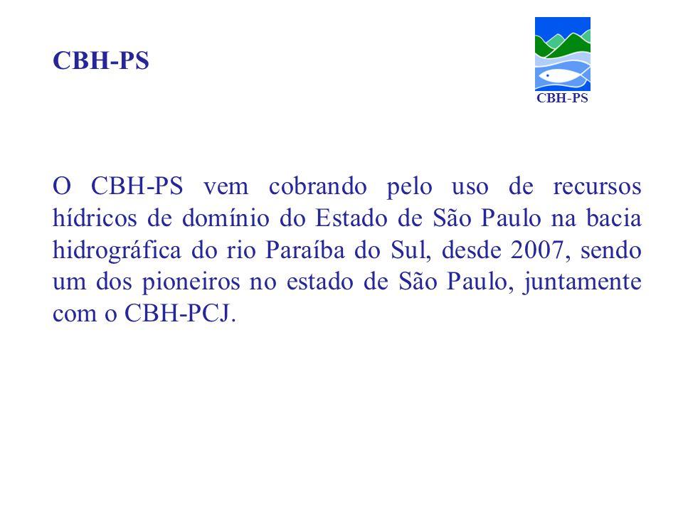 O CBH-PS vem cobrando pelo uso de recursos hídricos de domínio do Estado de São Paulo na bacia hidrográfica do rio Paraíba do Sul, desde 2007, sendo u