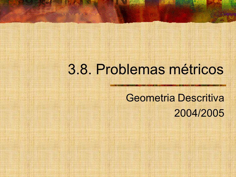 Tipos de problemas métricos Distância entre dois pontos Distância de um ponto a uma recta Distância de um ponto a um plano Distância entre duas rectas Ângulo de duas rectas Ângulo de uma recta com um plano Ângulo de dois planos