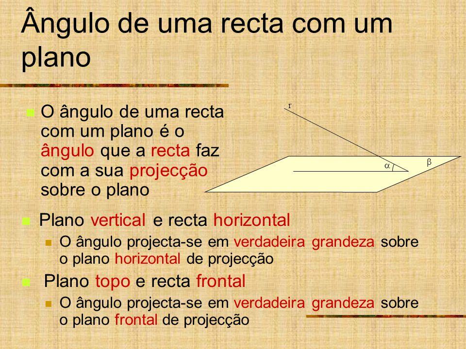 Ângulo de uma recta com um plano Plano vertical e recta horizontal O ângulo projecta-se em verdadeira grandeza sobre o plano horizontal de projecção P