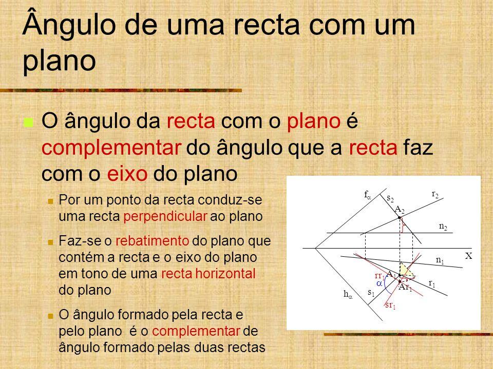 r2r2 r1r1 f h Ângulo de uma recta com um plano O ângulo da recta com o plano é complementar do ângulo que a recta faz com o eixo do plano Por um ponto da recta conduz-se uma recta perpendicular ao plano Faz-se o rebatimento do plano que contém a recta e o eixo do plano em tono de uma recta horizontal do plano O ângulo formado pela recta e pelo plano é o complementar de ângulo formado pelas duas rectas X n2n2 n1n1 Ar 1 A1A1 A2A2 rr 1 s1s1 s2s2 sr 1