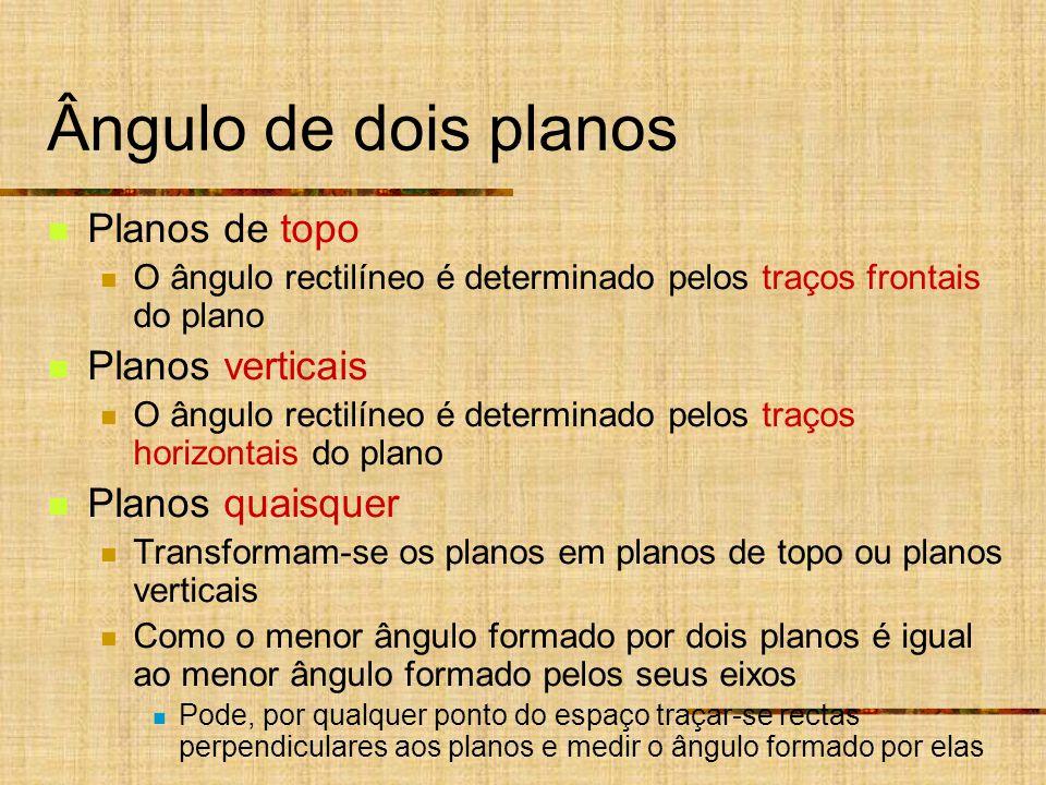 Ângulo de dois planos Planos de topo O ângulo rectilíneo é determinado pelos traços frontais do plano Planos verticais O ângulo rectilíneo é determina
