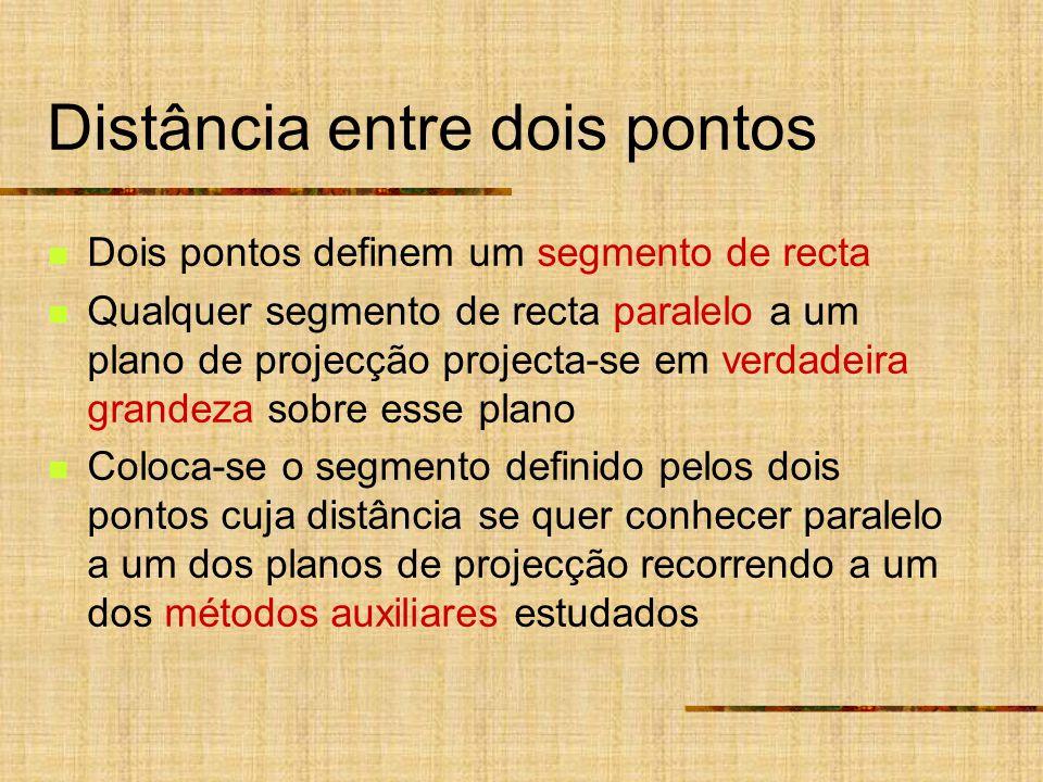 Distância entre dois pontos Dois pontos definem um segmento de recta Qualquer segmento de recta paralelo a um plano de projecção projecta-se em verdad
