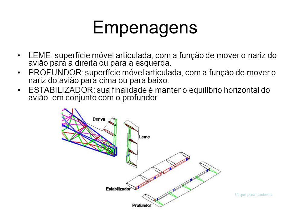 Empenagens LEME: superfície móvel articulada, com a função de mover o nariz do avião para a direita ou para a esquerda.