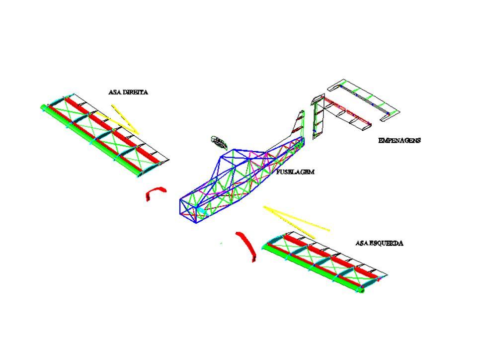Asas Asa baixa tipo semi-cantilever: sua fixação na fuselagem é feita com o auxilio de montantes.
