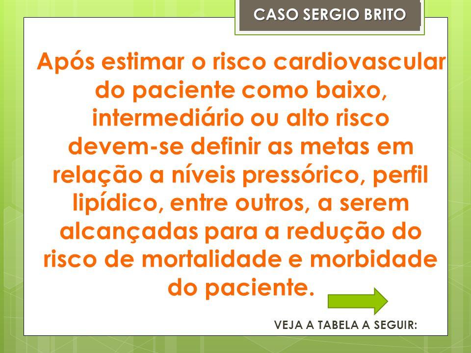 Após estimar o risco cardiovascular do paciente como baixo, intermediário ou alto risco devem-se definir as metas em relação a níveis pressórico, perf