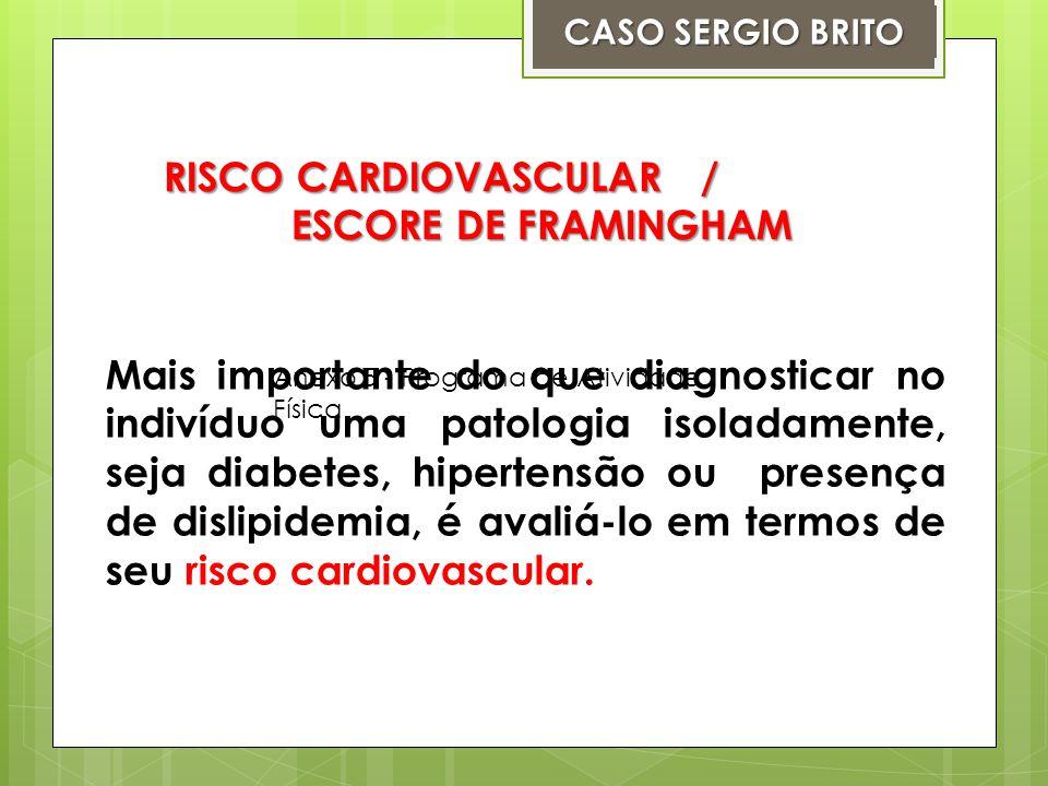 Alguns fatores de Risco Cardiovascular Hipertensão Obesidade Diabetes Mellitus SedentarismoTabagismoEstresse CASO SERGIO BRITO