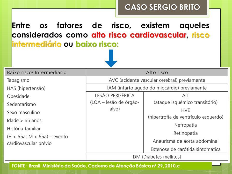 Na prática, para se determinar o risco cardiovascular (RCV), deve-se primeiro classificar o paciente segundo seus fatores de risco, podendo fazer parte de um dos três grupos abaixo : 1.Se o paciente apresenta apenas um fator de risco baixo/intermediário, não há necessidade de calcular o RCV, pois ele é considerado como baixo risco CV e terá menos que 10% de chance de morrer por acidente vascular cerebral (AVC) ou infarto agudo do miocárdio (IAM) nos próximos 10 anos.