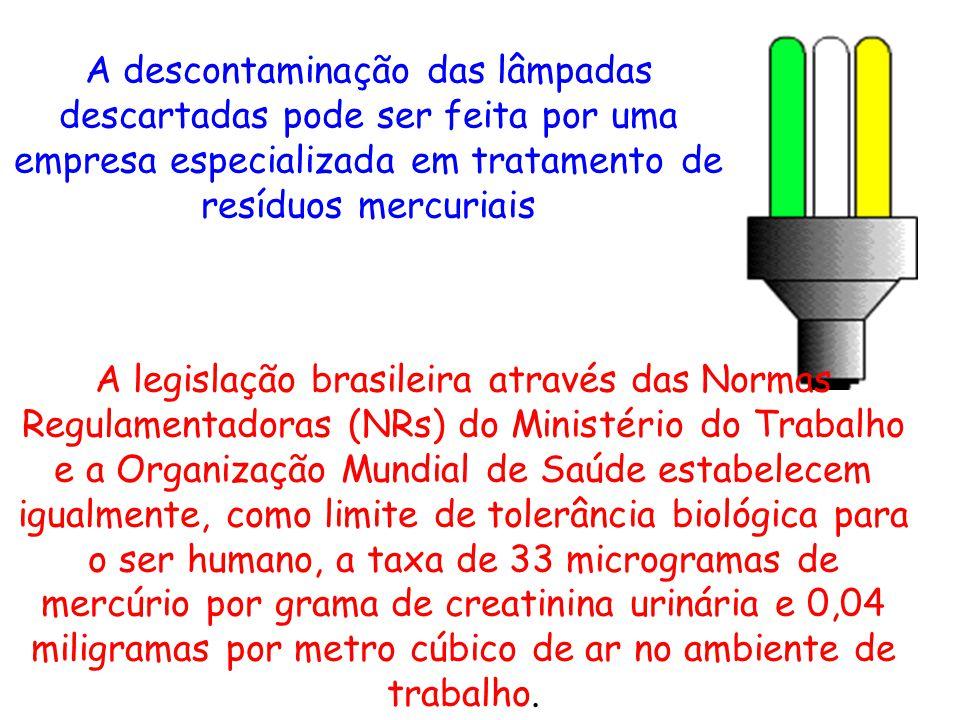 A descontaminação das lâmpadas descartadas pode ser feita por uma empresa especializada em tratamento de resíduos mercuriais A legislação brasileira a