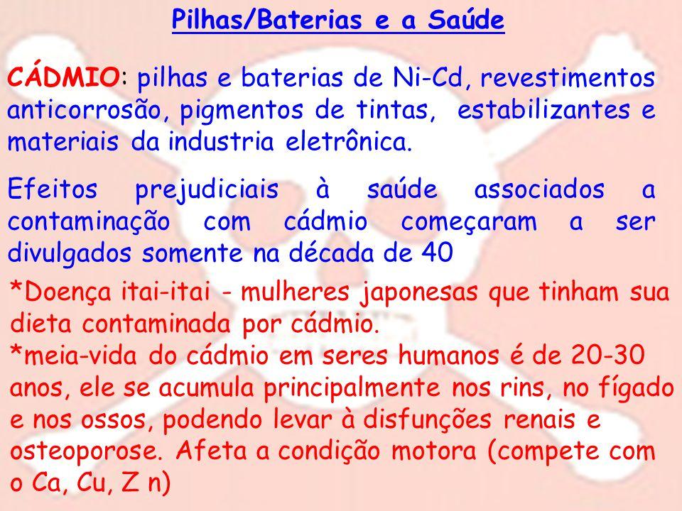 Pilhas/Baterias e a Saúde CÁDMIO: pilhas e baterias de Ni-Cd, revestimentos anticorrosão, pigmentos de tintas, estabilizantes e materiais da industria