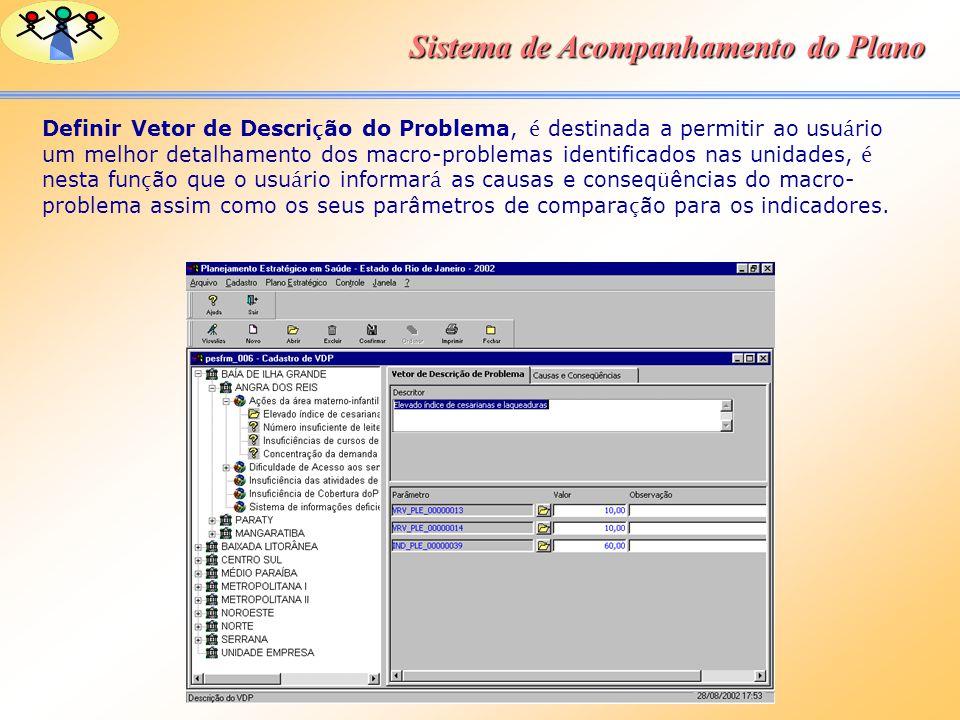Sistema de Acompanhamento do Plano Definir Vetor de Descri ç ão do Problema, é destinada a permitir ao usu á rio um melhor detalhamento dos macro-prob
