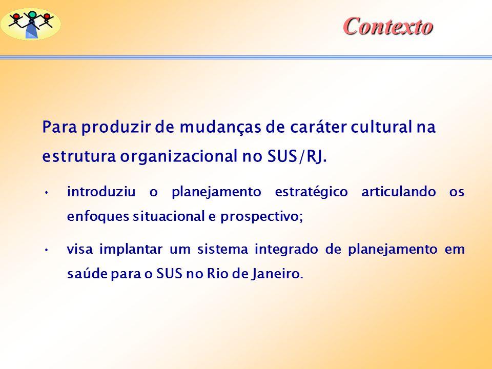 Contexto Para produzir de mudanças de caráter cultural na estrutura organizacional no SUS/RJ. introduziu o planejamento estratégico articulando os enf