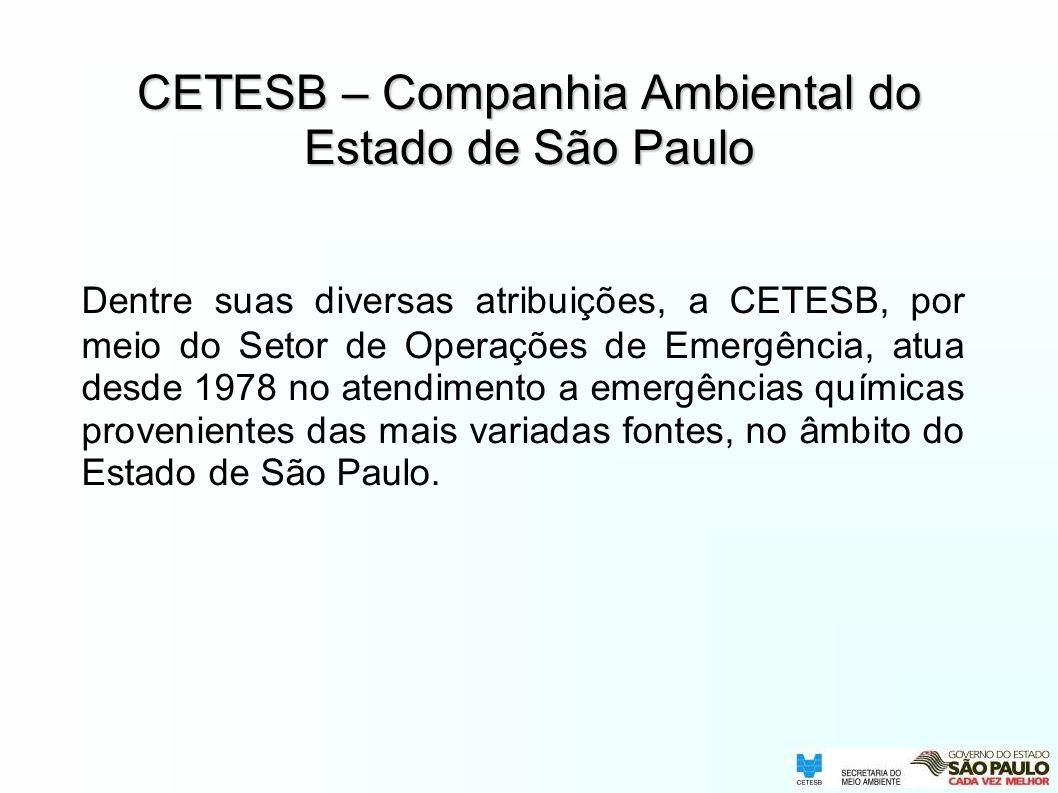 Dentre suas diversas atribuições, a CETESB, por meio do Setor de Operações de Emergência, atua desde 1978 no atendimento a emergências químicas proven
