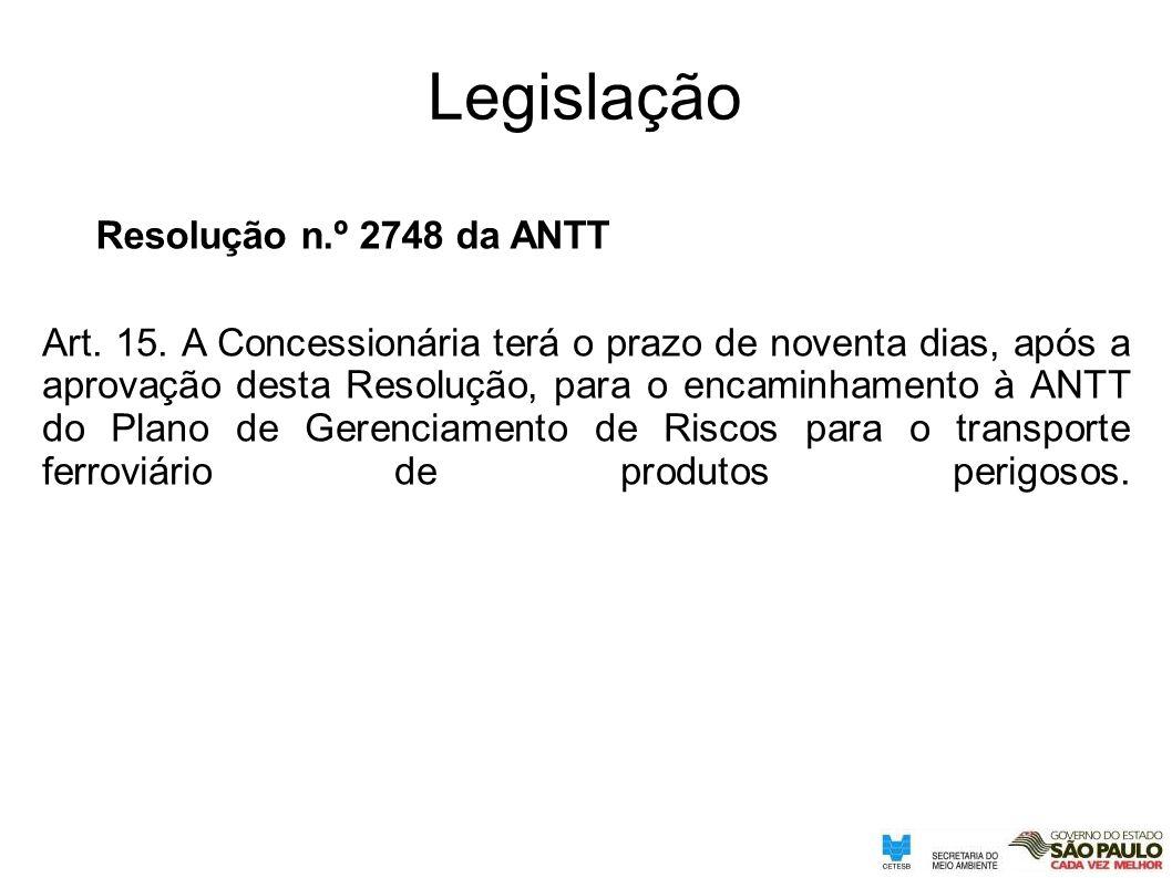 Resolução n.º 2748 da ANTT Legislação Art. 15. A Concessionária terá o prazo de noventa dias, após a aprovação desta Resolução, para o encaminhamento