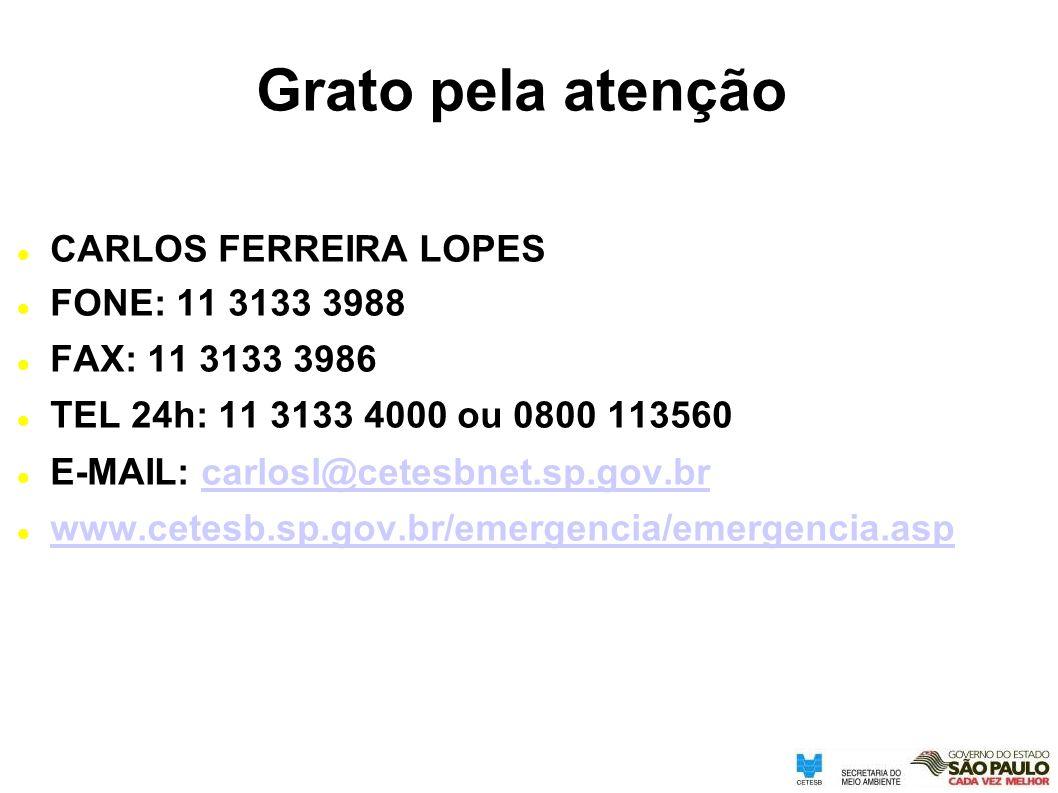 Grato pela atenção CARLOS FERREIRA LOPES FONE: 11 3133 3988 FAX: 11 3133 3986 TEL 24h: 11 3133 4000 ou 0800 113560 E-MAIL: carlosl@cetesbnet.sp.gov.br