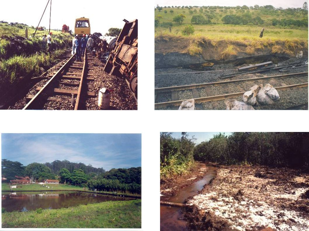 Local: Franca Data: 16/02/2007 Produto: Óleo diesel da locomotiva (transporte de fosfato) Causa: Queda de talude Consequência: Soterramento de composição e vazamento de diesel da locomotiva Ocorrências no Transporte Ferroviário