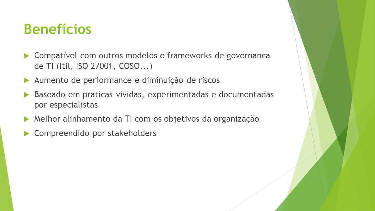 Benefícios Compatível com outros modelos e frameworks de governança de TI (Itil, ISO 27001, COSO...) Aumento de performance e diminuição de riscos Bas