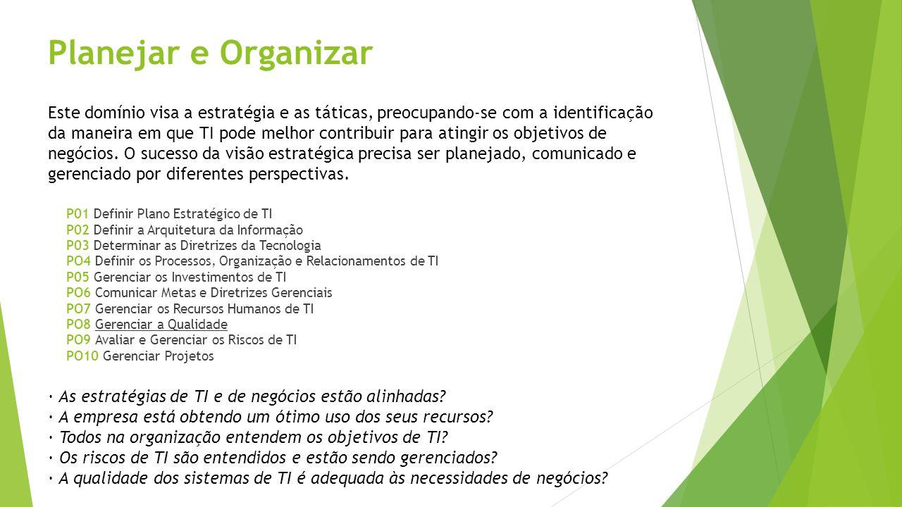 Planejar e Organizar P01 Definir Plano Estratégico de TI P02 Definir a Arquitetura da Informação P03 Determinar as Diretrizes da Tecnologia PO4 Defini